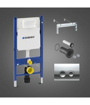 Монтажный комплект для подвесного унитаза Geberit Duofix, Н112, клавиша Delta21, 12 см(UP100), Платтенбау, белый