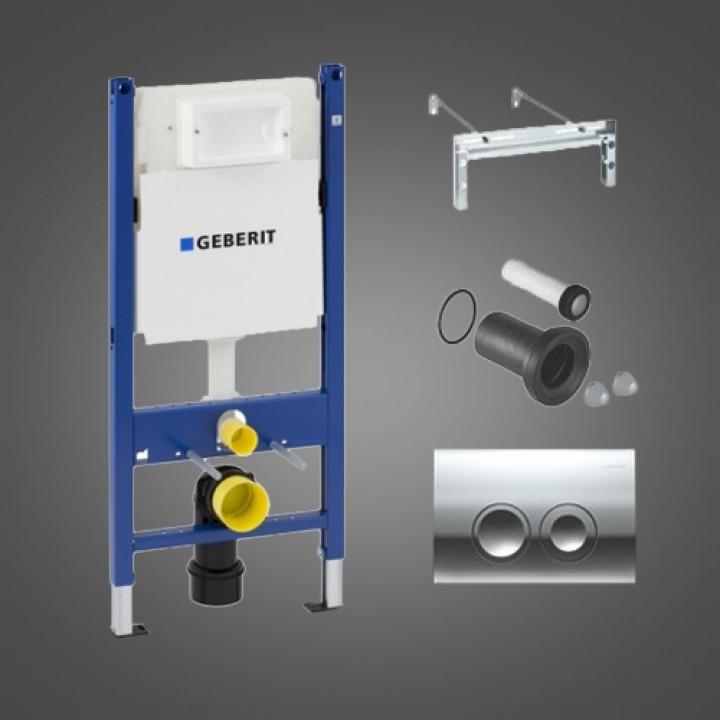 Монтажный комплект для подвесного унитаза Geberit Duofix, Н112, клавиша Delta21, 12 см(UP100), Платтенбау, хром глянец