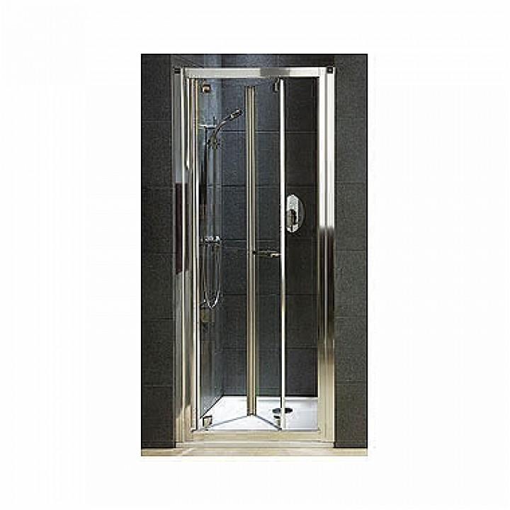Двери bifold 90 см GEO 6, закаленное стекло PRISMATIC, серебряный блеск