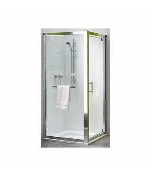 Боковая стенка 90 см GEO 6, закаленное стекло, серебряный блеск, Reflex