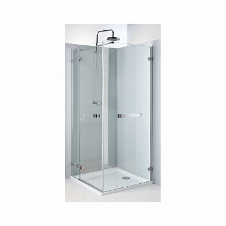 Боковая стенка NEXT 120 см с релингом, закаленное стекло, хром/серебряный блеск, Reflex. Для комплектации с распашными дверьми NEXT HDSF