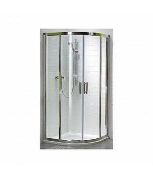 Кабина полукруглая 80 x 80 см GEO 6, двери раздвижные, закаленное стекло PRISMATIC, серебряный блеск, часть 1/2