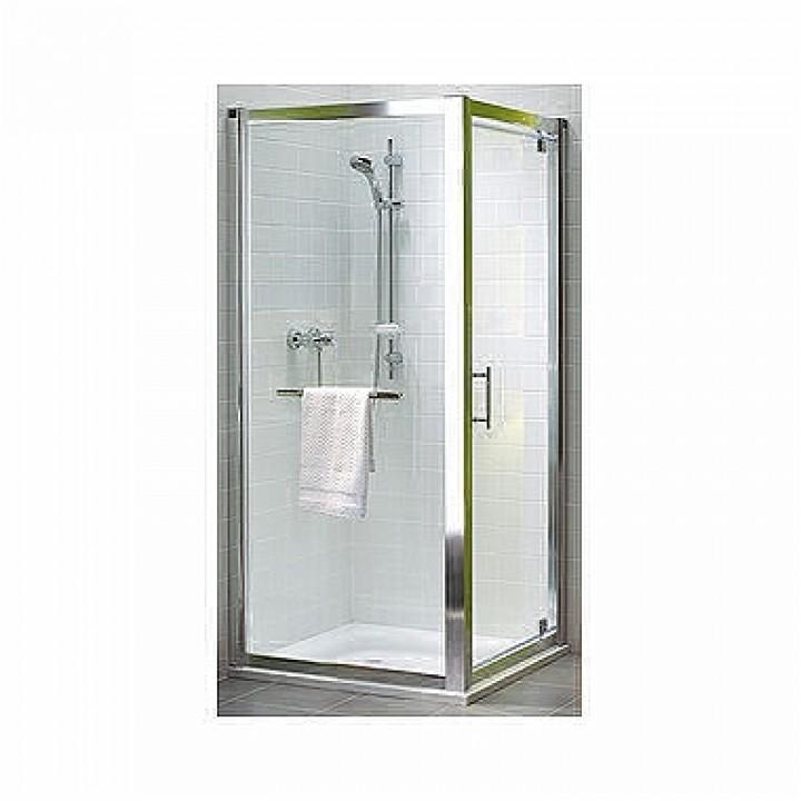 Боковая стенка 80 см GEO 6, закаленное стекло, серебряный блеск