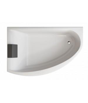 Ванна акриловая асимметрична MIRRA 170х110 см, левая, у комплектi з нiжками, елементами крiплення та підголовником, белая