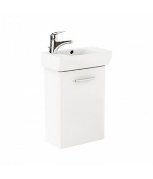 Комплект: умывальник 45 см прямоугольный, левое отверстие + шкафчик для умывальника  белый глянец NOVA PRO