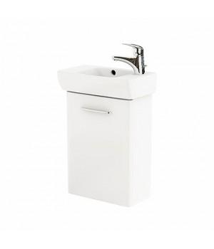Комплект: умывальник 45 см прямоугольный, правое отверстие + шкафчик для умывальника белый глянец NOVA PRO