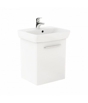 Комплект: умывальник 55 см прямоугольный + шкафчик для умывальника белый глянец NOVA PRO