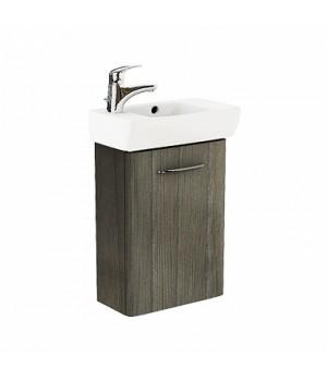 Комплект: умывальник 45cm прямоугольный, левое отверстие + шкафчик для умывальника серый ясень NOVA PRO