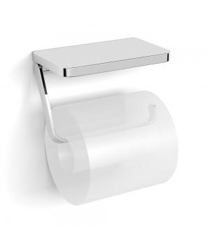 Держатель для туалетной бумаги VOLLE Teo с полочкой хром