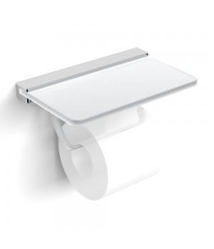 Держатель для туалетной бумаги VOLLE Teo  с полочкой матовое стекло/хром